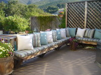 Bench cushions and throw pillows