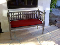 Mexican Bench With Red Cushion
