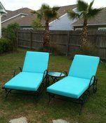 Custom Chaise Cushions in Sunbrella Aruba