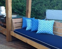 sunbrella navy bench cushion with natural cording