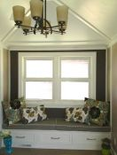 Double Window Seat Cushion in Maze Work Brindle