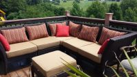 Corner Deck Comfort with Custom Cushion & Pillows!