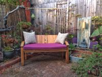 Purple Outdoor Bench Cushion and Pillows