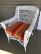 Outdoor Wicker Seat Cushion in Astoria Sunset