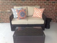 Sunbrella Antique Beige Wicker Love Seat Cushions