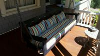 Porch Swing & Pillows With Outdura Stripe Fabric