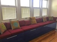 Sunbrella Burgandy Pool Room Bench Cushions