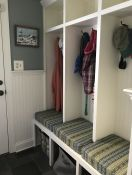 Mudroom Bench Cushions in Robert Allen Fabric