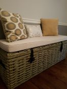 Custom Wicker Trunk Cushion in Sunbrella Canvas