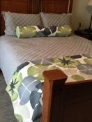 Custom Floral Bed Scarf and Bolster Pillow