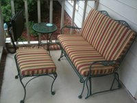 Iron Glider & Ottoman With New Sunbrella Cushions
