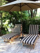 Classy Chaise Lounge Cushions in Sunbrella Tuxedo Strip