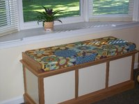 Window Seat Bench Cushion in Robert Allen Kiki Azure