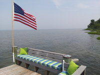 Sunbrella Seville Seaside Cushion on Patriotic Pier