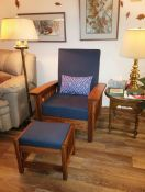 Hybrid Morris Chair and Ottoman & New Cushions