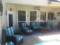 Vibrant Sunbrella Stripe Wicker Patio Cushions