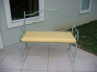 Sunbrella Buttercup Cushion On Iron Patio Bench
