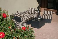Deep Seat Wicker Patio Sofa & Chair Set Cushions