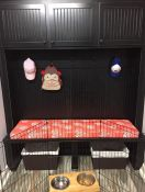 Built-in Bench With Custom Cushion in Laundry Room