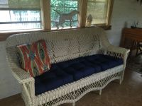 Vintage Wicker Sofa With New Tufted Cushions