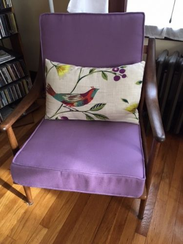 Purple Mid-Century Chair Seat and Back Cushions