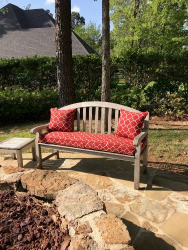 Custom Teak Bench Cushion and Throw Pillows