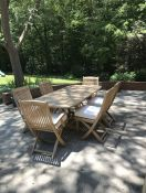 Teak Patio Dining Set Chair Cushions in Sunbrella