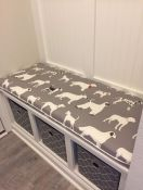 Dog Print Mudroom Bench Cushion With Welting