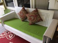 My Antique Glider Cushion in Sunbrella Macaw