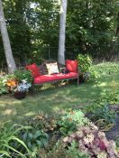 Large Wooden Garden Bench Cushion in Sunbrella