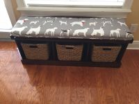 Dog Print Cushion For Restored Storage Bench