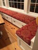 Kitchen Window Seat Cushions in Red Outdura Fabric