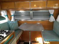 Turquoise RV Cushions for Our Vintage Trailer