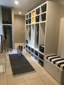 Mudroom with Custom Bench Cushion and Dog Bed