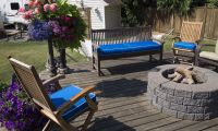 Patio with Sunbrella Pacific Blue Seat Cushions
