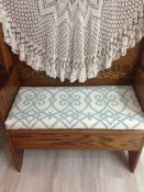 Bench Cushion with Teal Trellis Pattern