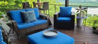 Tropical Paradise Deck with Blue Cushions